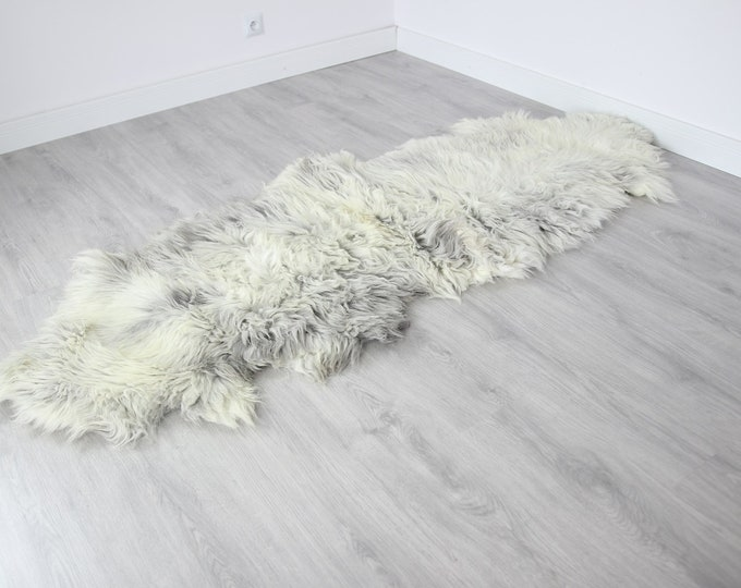 Double XXL Sheepskin Rug | Long rug | Shaggy Rug | Chair Cover | Runner Rug | Carpet | Gray Sheepskin | Sheepskin Rug | BRSEW4