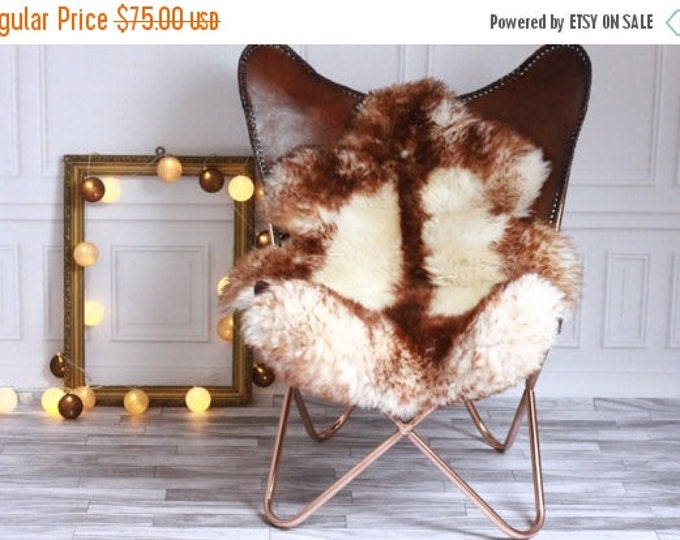 ON SALE Genuine Natural Brown Tipped Sheepskin Rug, Pelt, soft long fur XXL Large