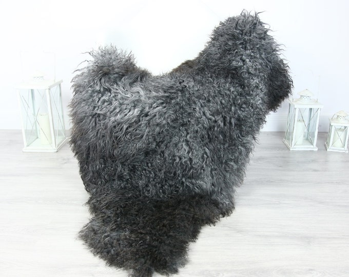 Genuine Rare Gotland Sheepskin Rug - XXL Curly Fur Rug - Natural Sheepskin - Gray Sheepskin #PRYMGOT5