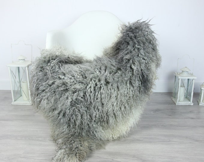 Genuine Rare Gotland Sheepskin Rug - Curly Fur Rug - Natural Sheepskin - Gray Sheepskin #PRYMGOT4