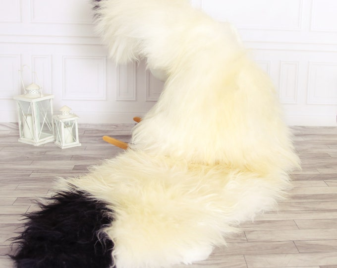 Double Icelandic Sheepskin Rug   Long rug   Shaggy Rug   Chair Cover   Runner Rug   Ivory Rug   Carpet   Ivory Sheepskin