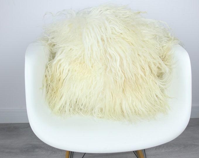 Mongolian Sheepskin Fur Pillow, Real fur pillow,Ivory Fur pillow, Square sheepskin pillow, Ivory pillow, scandinavian pillow, Both side fur