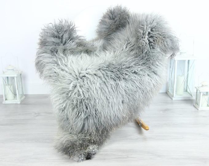 Genuine Rare Gotland Sheepskin Rug - Curly Fur Rug - Natural Sheepskin - Gray Sheepskin #GOTKW20