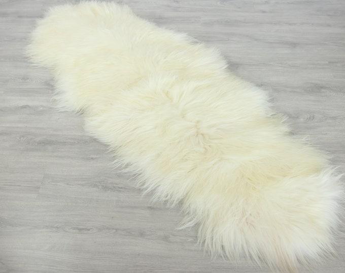 Double Icelandic Sheepskin Rug Long rug Large Sheepskin Throw Chair Cover Runner Rug  Carpet White Ivory Sheepskin Sheep Skin Rug | 2double7
