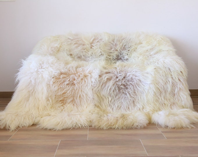 Luxurious Ivory Sheepskin Real Fur Throw | Real Fur Blanket | Sheepskin throw | Made out of 8 sheepskins | Octo sheepskin