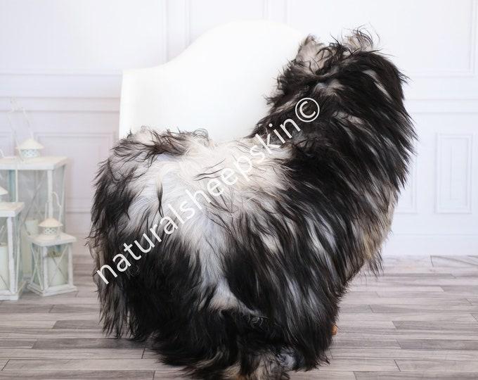 Icelandic Sheepskin | Real Sheepskin Rug | Gray Black Sheepskin Rug | Fur Rug | Homedecor #febisl29