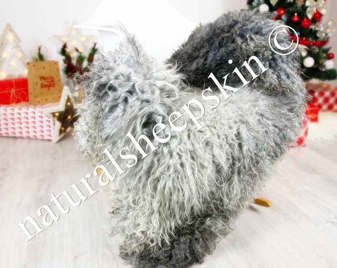 Genuine Rare Gotland Sheepskin Rug - Curly Fur Rug - Natural Sheepskin - Gray  Sheepskin #CHRISTGOT8