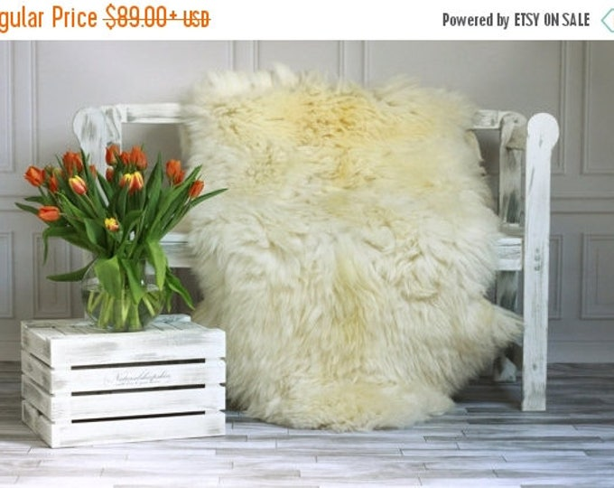Creamy White Giant XXXL Sheepskin Rug, Sheepskin Throw, Cosy <3