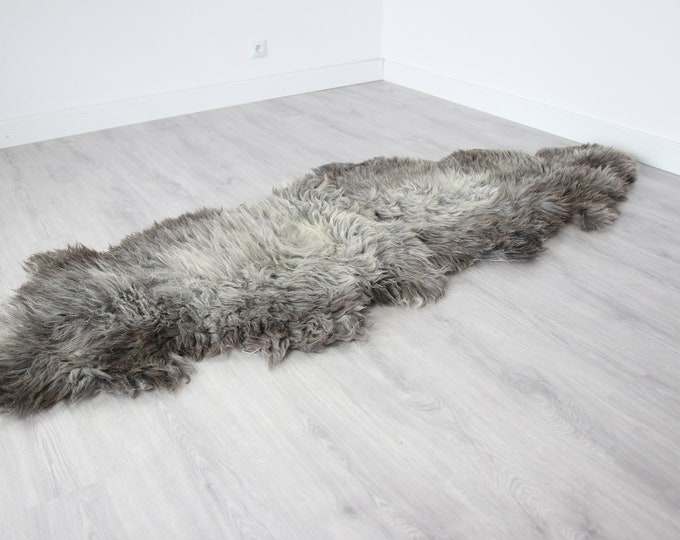 Double XXL Sheepskin Rug | Long rug | Shaggy Rug | Chair Cover | Runner Rug | Carpet | Gray Sheepskin | Sheepskin Rug | BRSEW2
