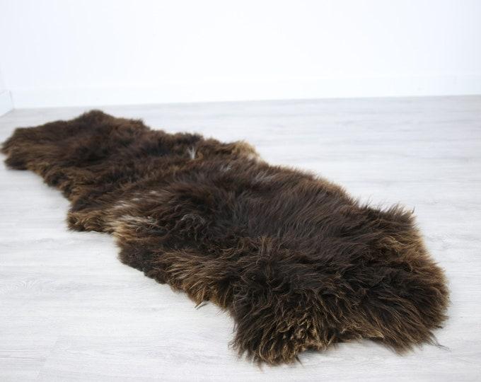 Double Sheepskin Rug | Long rug | Shaggy Rug | Chair Cover | Runner Rug | Brown Rug | Carpet | Brown Sheepskin | Brown Sheepskin LUSZY3