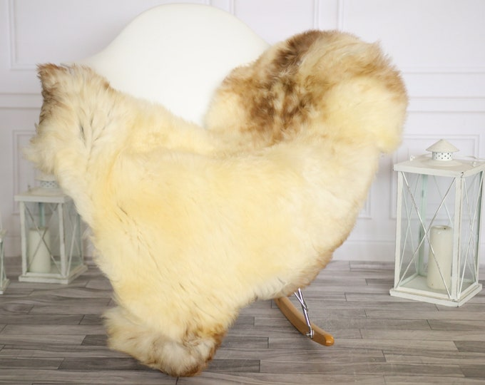 Sheepskin Rug | Real Sheepskin Rug | Shaggy Rug | Chair Cover | Sheepskin Throw | Brown Beige Sheepskin | Home Decor | #HERMAJ55