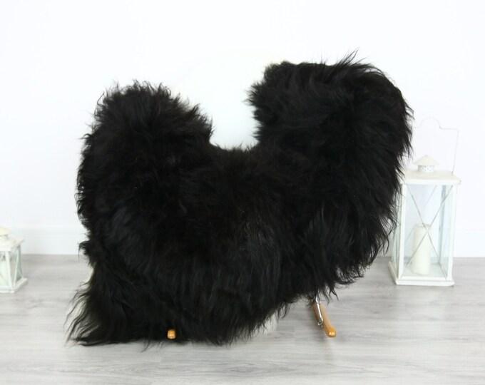 Icelandic Sheepskin | Real Sheepskin Rug | | Large Sheepskin Rug Black | Fur Rug | Homedecor | Sheepskin Throw | Long fur #colisl1