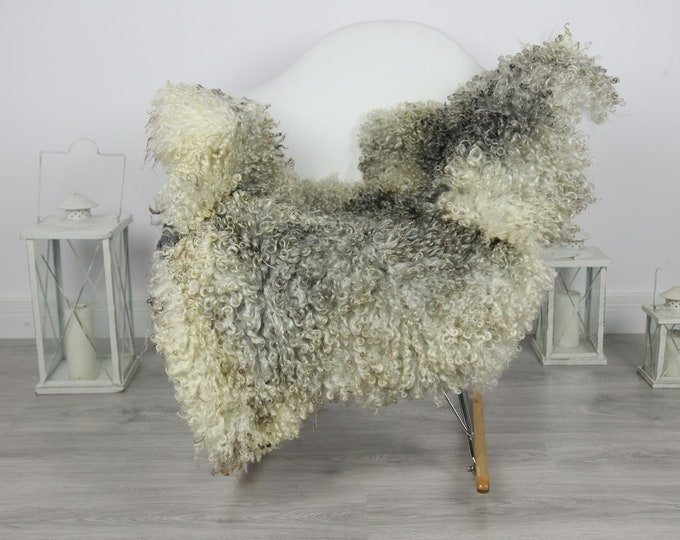 Genuine Rare Gotland Sheepskin Rug - Curly Fur Rug - Natural Sheepskin - Gray  Sheepskin #CURLY2