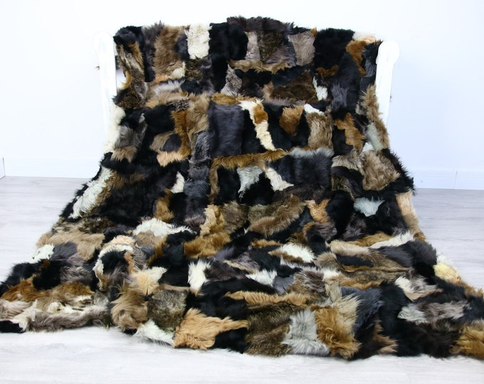 Luxurious Toscana Sheepskin Real Fur Throw | Real Fur Blanket | Sheepskin throw | Brown Gray Black Throw