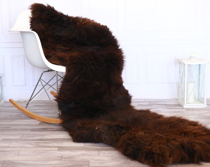 Genuine Natural Double Side by Side Organic Sheepskin Rug | Sheepskin Throw |  Brown Sheepskin Rug | double Sheepskin Rug |