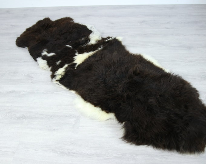 Double Sheepskin Rug | Long rug | Shaggy Rug | Chair Cover | Runner Rug | Carpet | White Brown Sheepskin | Sheepskin Rug | LUSZY19