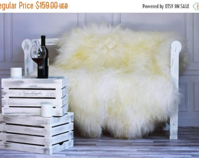 ON SALE Genuine Natural ICELANDIC Sheepskin Rug, Throw, Double - Square - Creamy White