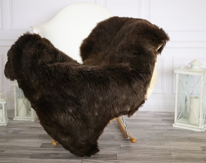 Sheepskin Rug | Real Sheepskin Rug | Shaggy Rug | Chair Cover | Sheepskin Throw |Brown White Sheepskin | Home Decor | #HERMAJ49