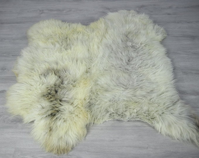 Double Sheepskin Rug | Long rug | Shaggy Rug | Chair Cover | Runner Rug | Carpet | Beige Gray Sheepskin | Sheepskin Rug | LUSZY12