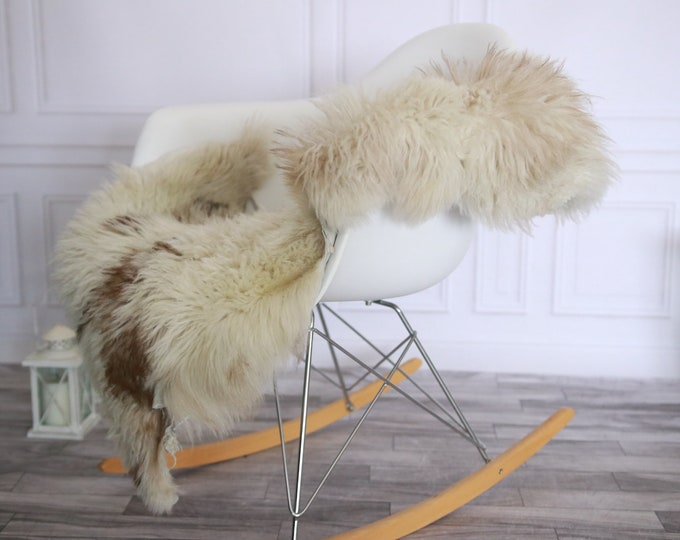 Genuine Rare Tuscan Lamb Sheepskin Rug - Curly Fur Rug - Natural Sheepskin - Beige Brown Sheepskin | Small Sheepskin #2MARGOT5