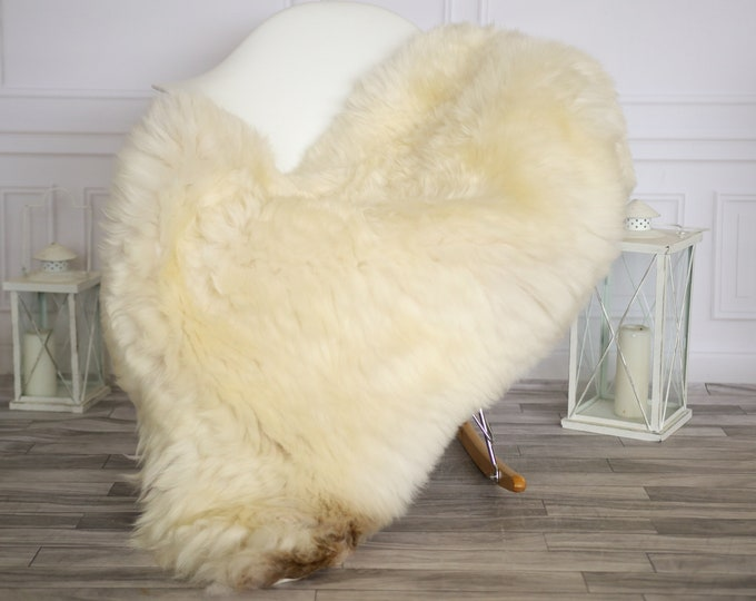 Sheepskin Rug | Real Sheepskin Rug | Shaggy Rug | Chair Cover | Sheepskin Throw | Beige Brown Sheepskin | Home Decor | #HERMAJ60