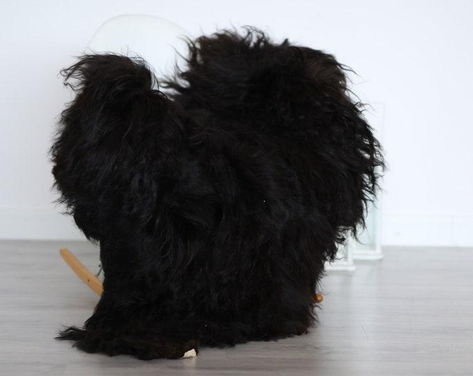 Real Icelandic Sheepskin Rug Scandinavian Decor Sofa Sheepskin throw Chair Cover Natural Sheep Skin Rugs Black Blanket Fur Rug #4isl15
