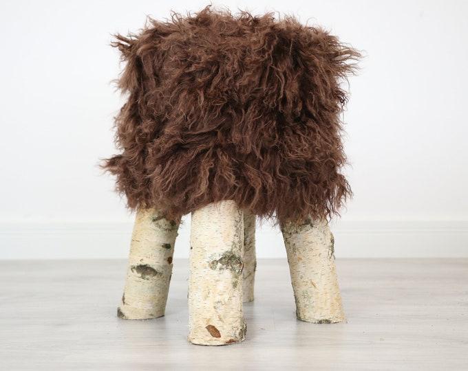 Wood Stool |  Fur Stool | Sheepskin pouf |Sheepskin stool | Vanity Stool | Birch tree stool |  fur stool