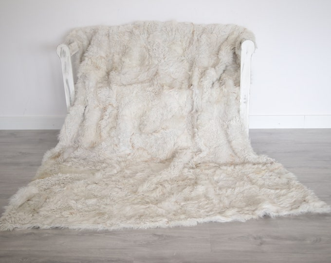 Luxurious Toscana Sheepskin Real Fur Throw | Real Fur Blanket | Sheepskin throw | Scandinavian Decor Sofa Sheepskin Sheep Skin White Fu997