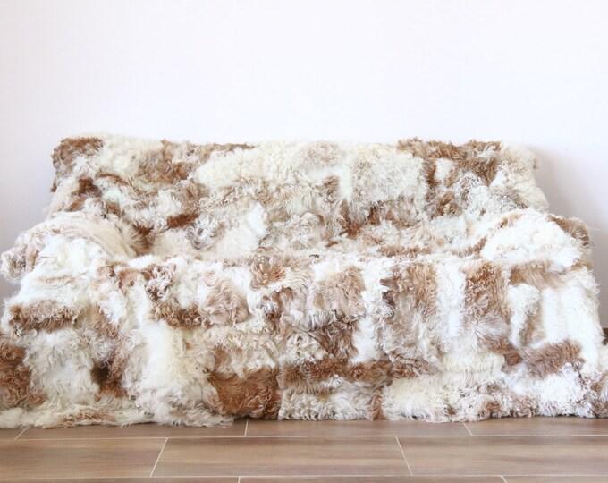 Luxurious Gotland Sheepskin Real Fur Throw | Real Fur Blanket | Sheepskin throw | Curly Fur Throw