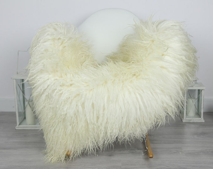 Genuine Rare Mongolian Sheepskin Rug - Curly Fur Rug - Natural Sheepskin - Ivory Sheepskin #CURLY37