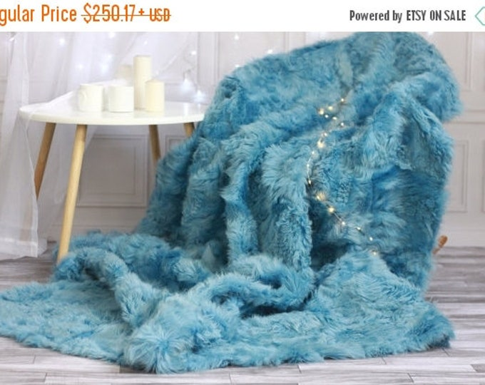 Sheepskin Throw | Blue Bed Throw | Blue Fur Throw | Sofa Throw | Blue Throw | Sheepskin Area Rug | Blue Sheepskin Rug