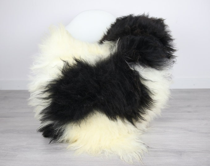 Icelandic Sheepskin | Real Sheepskin Rug | | Large Sheepskin Rug White Black | Fur Rug | Homedecor | Sheepskin Throw | Long fur #colisl24