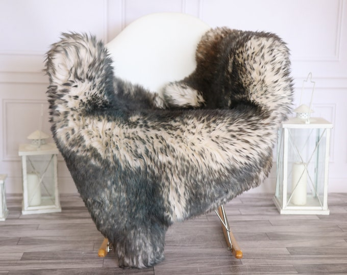 Sheepskin Rug | Real Sheepskin Rug | Shaggy Rug | Scandinavian Rug | | SCANDINAVIAN DECOR |White Blue Sheepskin  #MIHER34