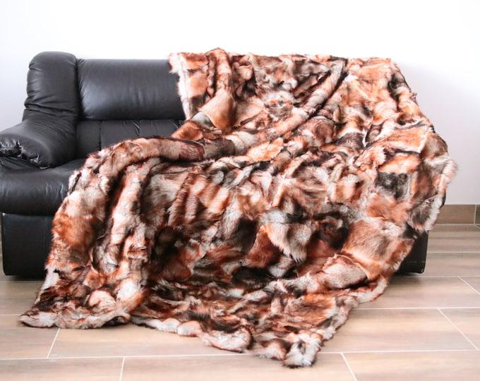 Exclusive Real Mouflon Sheepskin Blanket Throw, Fur Sofa Throw, Scandinavian Decoration, Throws for sofa,  Sofa throws,  Luxury throws