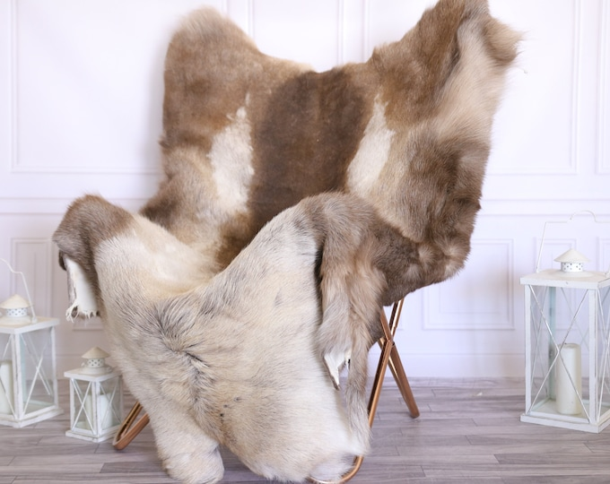 Reindeer Hide | Reindeer Rug | Reindeer Skin | Throw XXXL GIANT  - Scandinavian Style #22RE6 150X120cm