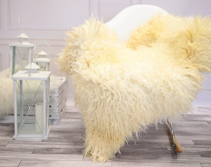 Genuine Rare Gotland Sheepskin Rug - Curly Fur Rug - Natural Sheepskin - Ivory Sheepskin #DECGOT18