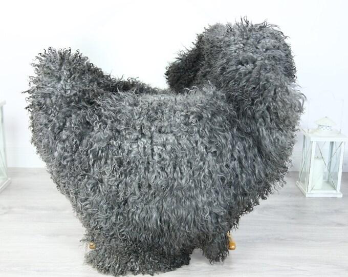 Genuine Rare Gotland Sheepskin Rug - Curly Fur Rug - Natural Sheepskin - Gray Sheepskin #PRYMGOT6