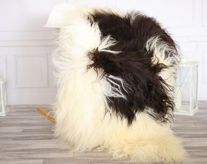 Icelandic Sheepskin | Real Sheepskin Rug |  Super Large Sheepskin Rug Brown White | Fur Rug | Homedecor #APRISl21