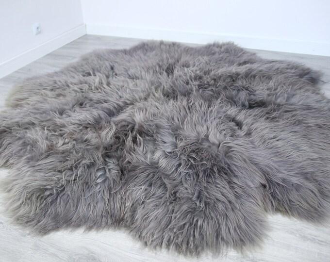 Luxurious Gray Sheepskin Real Fur Throw | Real Fur Blanket | Sheepskin throw | Exclusive Gray Sheepskin | Round sheepskin | Round throw