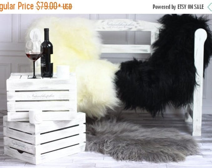 ON SALE Genuine Natural Icelandic Sheepskin Rug, Pelt, super soft long fur XXL Large - Gray, White, Black - Super Soft Long Fur