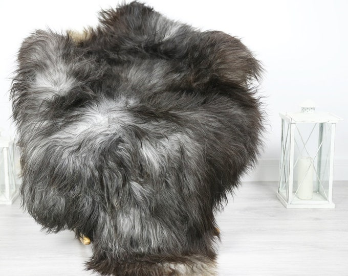 Icelandic Sheepskin   Real Sheepskin Rug   Sheepskin Rug Brown Gray   Fur Rug   Homedecor #3Isl19