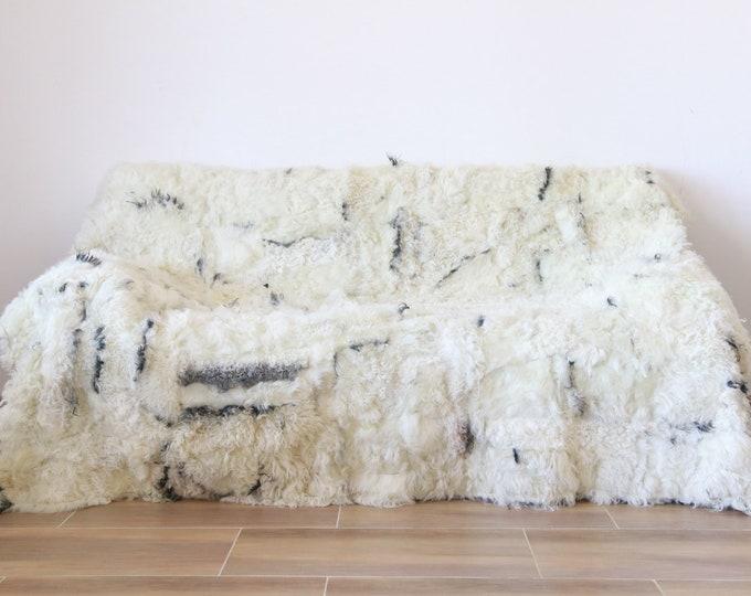 Luxurious Gotland Sheepskin Real Fur Throw | Real Fur Blanket | Sheepskin throw |