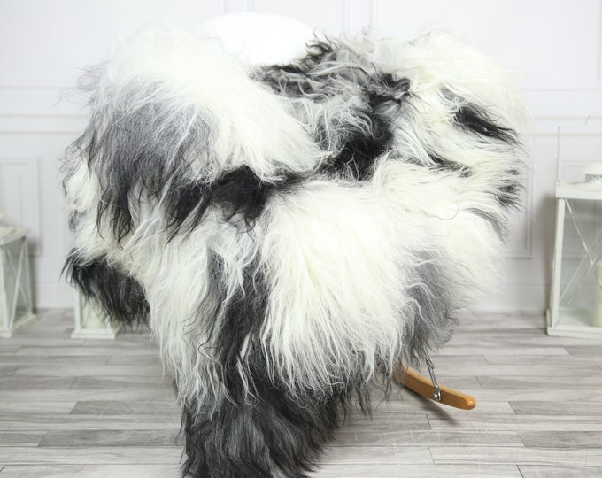 Icelandic Sheepskin | Real Sheepskin Rug | CHRISTMAS DECOR | Sheepskin Rug Gray White | Fur Rug | Homedecor #2ISL33