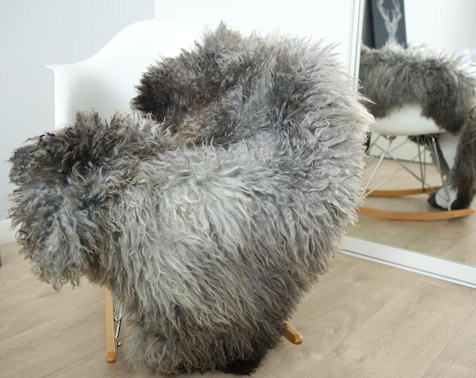 Genuine Rare Gotland Sheepskin Rug - Curly Fur Rug - Natural Sheepskin - Gray Sheepskin #FEBGOT29