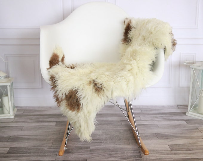 Genuine Rare Tuscan Lamb Sheepskin Rug - Curly Fur Rug - Natural Sheepskin - Ivory Brown Sheepskin | Small Sheepskin #2MARGOT8