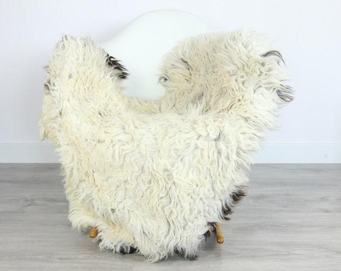 Organic Curly Sheepskin Rug, Real Sheepskin Rug, Gute Sheepskin,Ivory Black Sheepskin Rug #GOTKW1