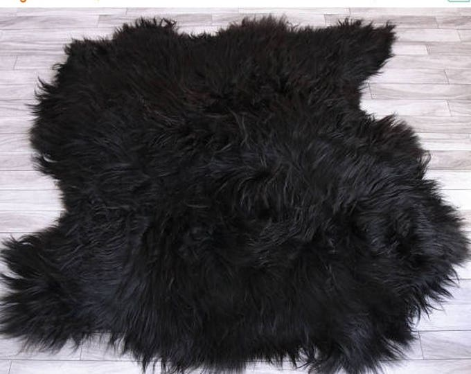 ON SALE Genuine Double Sheepskin Rug Black Sheepskin Rug Icelandic Sheepskin Rug Square rug