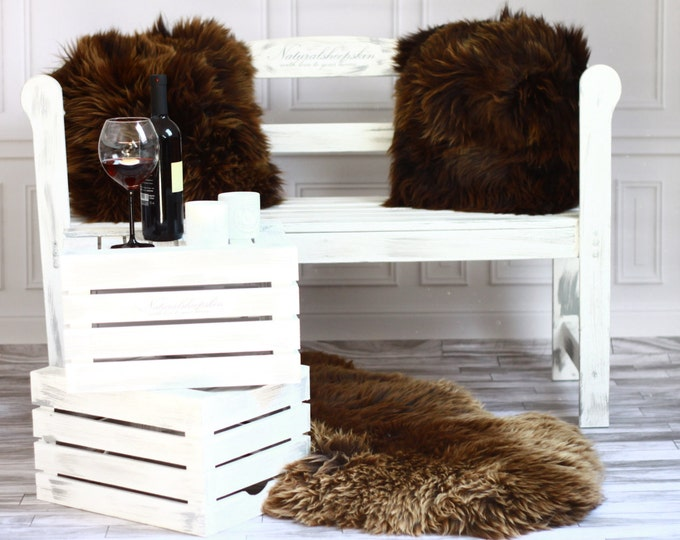 Beautiful Natural Brown Real Sheepskin Decorative Cushion Both Side Fur Scandinavian Style
