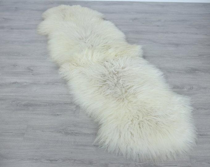 Double Icelandic Sheepskin Rug Long rug Sheepskin Throw Chair Cover Runner Rug  Carpet Ivory Sheepskin Sheep Skin Rug | 2double3