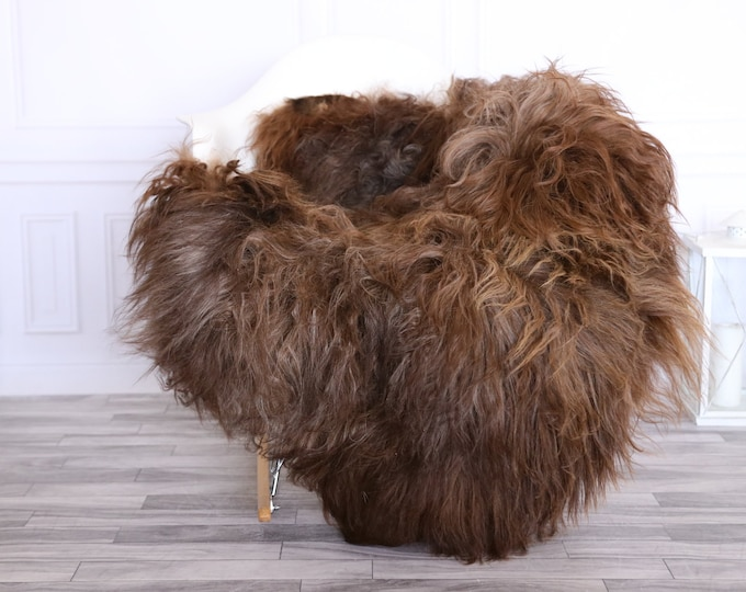 Icelandic Sheepskin | Real Sheepskin Rug | CHRISTMAS DECOR | Sheepskin Rug Brown Gray | Fur Rug | Homedecor #1isl5